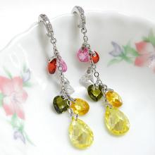 Multicolor CZ Stones Bridal Earrings