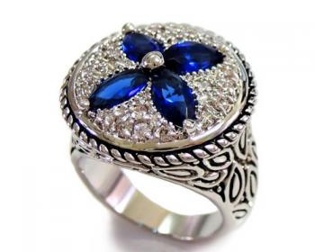 Blue Stone and Clear CZ Ring