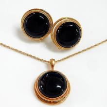 Black Onyx Round Jewellery Set