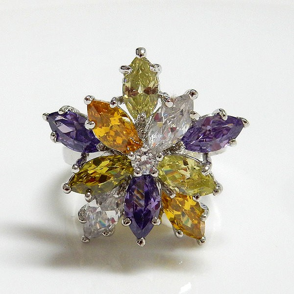 Multi Color Flower CZ Ring