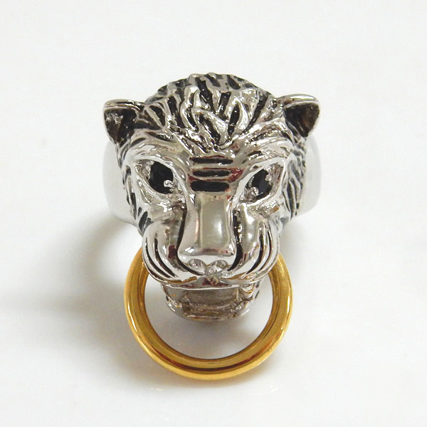 Leopard Two Tone Antique Black Eyes Ring