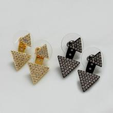 Cubic Zirconia 2 in 1 Triangle Shape Stud Earrings