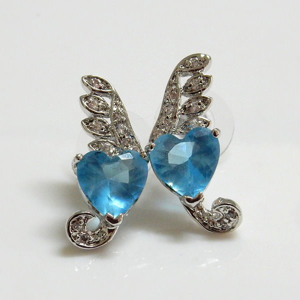 Aqua Heart Design Earrings