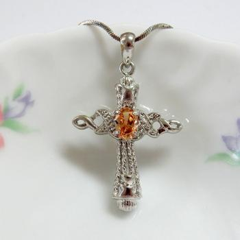 Oval Champagne CZ Cross Pendant