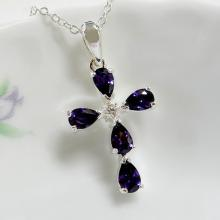 Purple CZ Cross Pendant