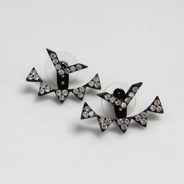 Cubic Zirconia 2 in 1 Stud Earrings